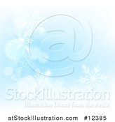 Vector Illustration of a Background of Winter Snowflakes and Flares on Blue by AtStockIllustration