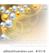Vector Illustration of a Background with Swooshes and 3d Suspended Silver and Gold Christmas Bauble Ornaments by AtStockIllustration