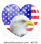 Vector Illustration of a Bald Eagle Head over a Shiny American Flag Heart by AtStockIllustration