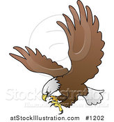 Vector Illustration of a Bald Eagle in Flight, Extending His Talons While Preparing to Grasp Prey by AtStockIllustration