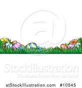 Vector Illustration of a Banner of Easter Eggs and Flowers in Grass by AtStockIllustration
