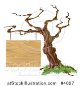 Vector Illustration of a Bare Tree with a Wooden Sign Suspended from a Branch by AtStockIllustration