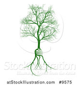 Vector Illustration of a Bare Tree with Light Bulb Shaped Roots by AtStockIllustration