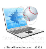 Vector Illustration of a Baseball Flying Through and Shattering a 3d Laptop Screen by AtStockIllustration