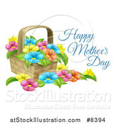 Vector Illustration of a Basket Full of Colorful Flowers and Happy Mothers Day Text by AtStockIllustration
