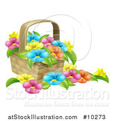 Vector Illustration of a Basket Full of Colorful Flowers by AtStockIllustration