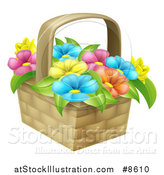 Vector Illustration of a Basket of Colorful Flowers by AtStockIllustration