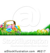 Vector Illustration of a Basket of Easter Eggs and Flowers in Grass, with Text Space by AtStockIllustration