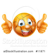 Vector Illustration of a Basketball Character Holding Two Thumbs up by AtStockIllustration