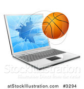 Vector Illustration of a Basketball Crashing Through a 3d Laptop Screen by AtStockIllustration