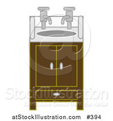 Vector Illustration of a Bathroom Sink and Cabinet with Two Faucets by AtStockIllustration