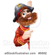 Vector Illustration of a Bearded Pirate Captain Pointing Around a Sign by AtStockIllustration