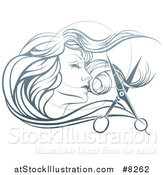Vector Illustration of a Beatiful Woman's Face in Profile, with Long Hair and Scissors Snipping off a Lock by AtStockIllustration