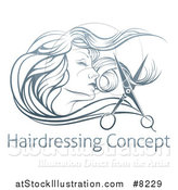 Vector Illustration of a Beatiful Woman's Face in Profile, with Long Hair and Scissors Snipping off a Lock over Sample Text by AtStockIllustration