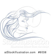 Vector Illustration of a Beatiful Woman's Face in Profile, with Long Hair Waving in the Wind by AtStockIllustration
