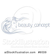 Vector Illustration of a Beatiful Woman's Face in Profile, with Long Hair Waving in the Wind, with Sample Text by AtStockIllustration
