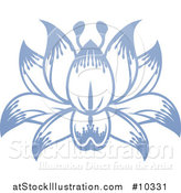Vector Illustration of a Beautiful Blue Purple Water Lily Lotus Flower by AtStockIllustration