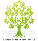 Vector Illustration of a Beautiful Gradient Green Tree by AtStockIllustration