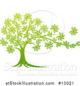 Vector Illustration of a Beautiful Gradient Green Tree with a Leaf Flying Away in the Breeze by AtStockIllustration