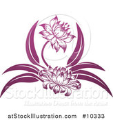 Vector Illustration of a Beautiful Gradient Purple Water Lily Lotus Flowers by AtStockIllustration