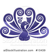 Vector Illustration of a Beautiful Shiny Gradient Purple Peacock Bird with Swirly Feather Plumes by AtStockIllustration