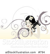 Vector Illustration of a Beautiful Woman with Swirl Background by AtStockIllustration