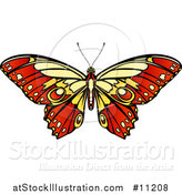 Vector Illustration of a Beautiful Yellow and Red Butterfly or Moth by AtStockIllustration