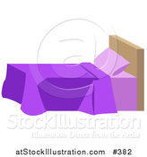 Vector Illustration of a Bed with Purple Blankets and a Headboard in a Bedroom by AtStockIllustration