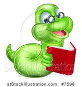 Vector Illustration of a Bespectacled Green Earthworm Holding a Book by AtStockIllustration