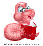 Vector Illustration of a Bespectacled Pink Earthworm Holding a Book by AtStockIllustration