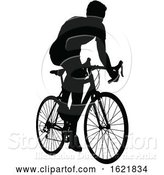 Vector Illustration of a Bicycle Riding Bike Cyclist in Silhouette by AtStockIllustration