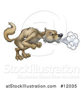 Vector Illustration of a Big Bad Wolf Blowing by AtStockIllustration
