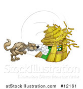 Vector Illustration of a Big Bad Wolf Blowing down a Straw House by AtStockIllustration