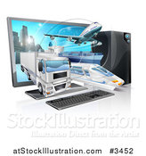 Vector Illustration of a Big Rig Airplane Cargo Ship and Train Emerging from a Desktop Computer by AtStockIllustration