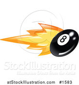 Vector Illustration of a Billiards Eight Ball on Fire by AtStockIllustration