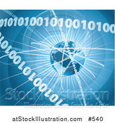Vector Illustration of a Binary Coding Forming Rings Around Earth Background by AtStockIllustration