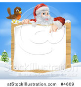 Vector Illustration of a Bird by Santa Pointing down at a Wood Sign in a Winter Landscape by AtStockIllustration