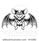 Vector Illustration of a Black Adn White Woodcut Flying Bat by AtStockIllustration