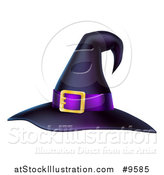 Vector Illustration of a Black and Purple Witch Hat by AtStockIllustration