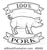 Vector Illustration of a Black and White 100 Percent Pork Food Banners and Pig by AtStockIllustration