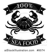 Vector Illustration of a Black and White 100 Percent Seafood Food Banners and Crab by AtStockIllustration