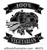 Vector Illustration of a Black and White 100 Percent Vegetarian Food Banners and Vegetables by AtStockIllustration