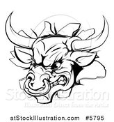 Vector Illustration of a Black and White Aggressive Bull Breaking Through a Wall by AtStockIllustration