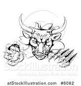 Vector Illustration of a Black and White Aggressive Clawed Bull Breaking Through a Wall by AtStockIllustration