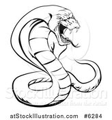 Vector Illustration of a Black and White Aggressive Cobra Snake Ready to Strike by AtStockIllustration