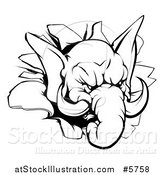 Vector Illustration of a Black and White Aggressive Elephant Breaking Through a Wall by AtStockIllustration