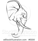 Vector Illustration of a Black and White Aggressive Elephant Mascot Head in Profile by AtStockIllustration