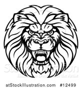 Vector Illustration of a Black and White Aggressive Male Lion Head by AtStockIllustration