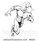 Vector Illustration of a Black and White Aggressive Muscular Duck Mascot Running by AtStockIllustration