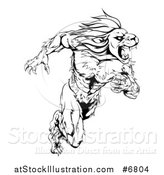 Vector Illustration of a Black and White Aggressive Muscular Sprinting Lion Man Mascot by AtStockIllustration